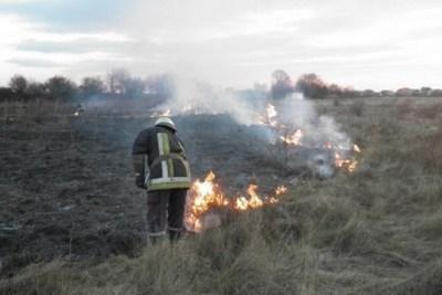 Пожежа трави, Кременець, горить торф