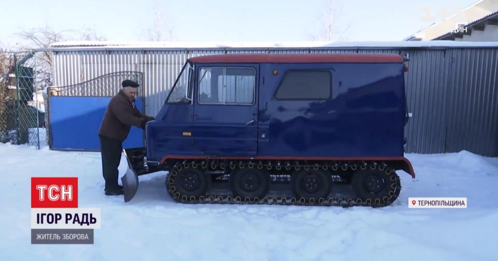 Ігор Радь зі Зборова власноруч змайстрував снігохід (відео)