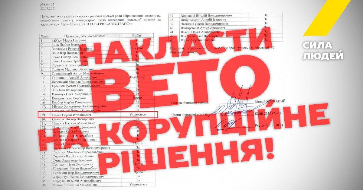 """""""Сила людей"""" закликає міського голову Тернополя накласти вето на скандальне земельне рішення!"""